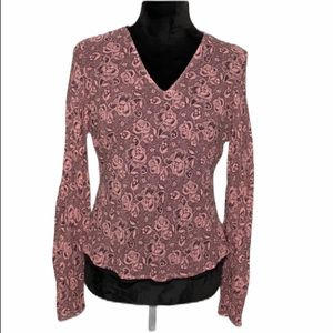 Harold's silk blouse floral rose black pink blouse